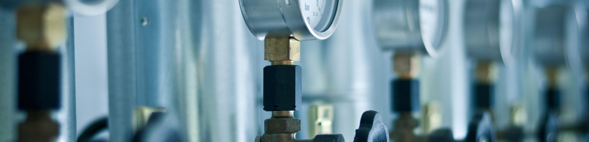 close up of medical gas valves